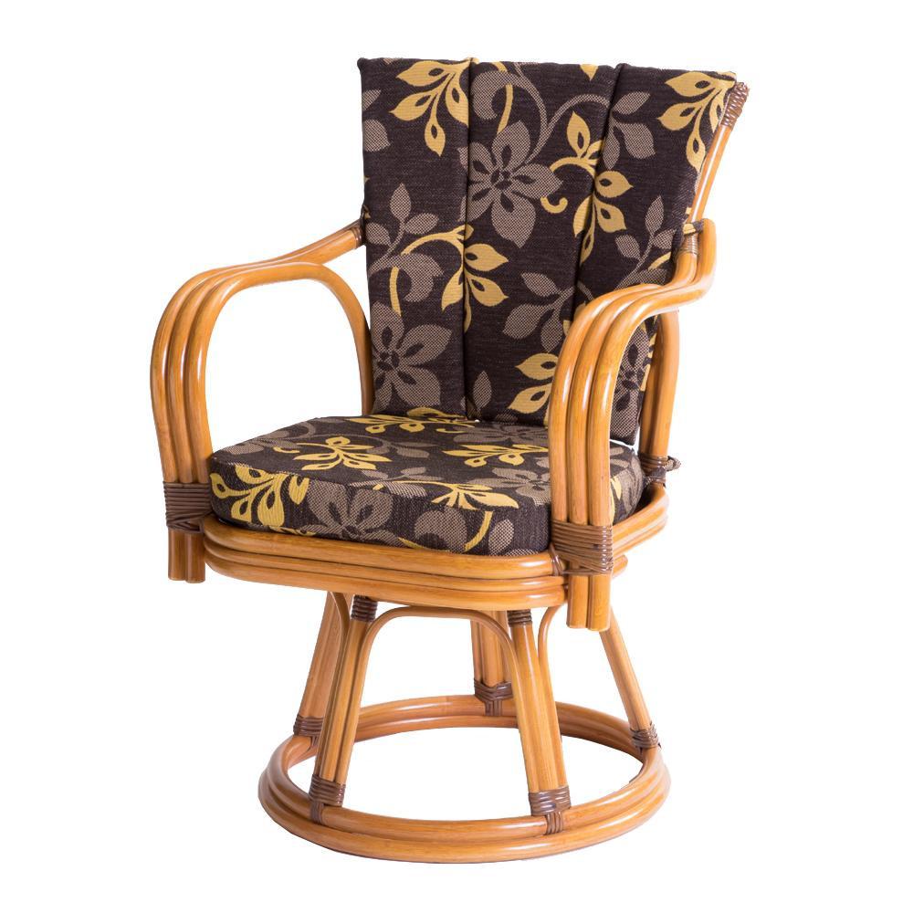 【代引き・同梱不可】ラタン 回転椅子 ハイタイプ 座面高さ41cm GNM17H