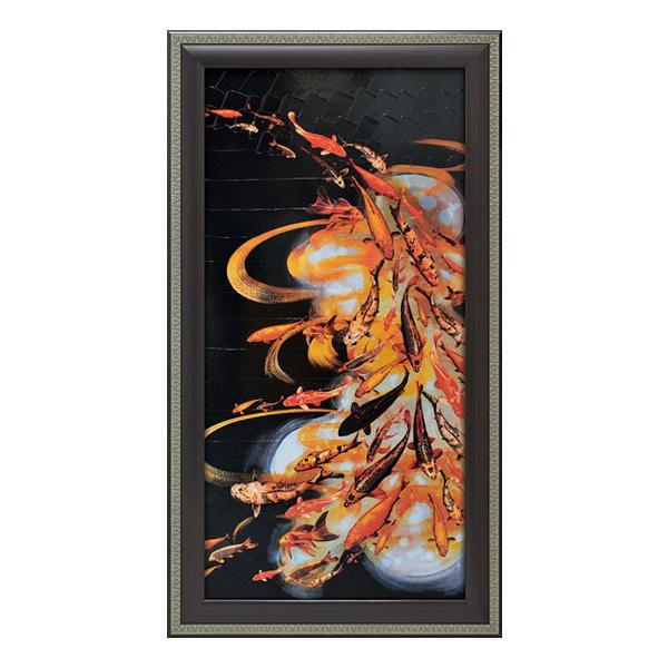 【代引き・同梱不可】ユーパワー アートフレーム リリー グリーンウッド 「コイ オン ブラック」 LG-18001