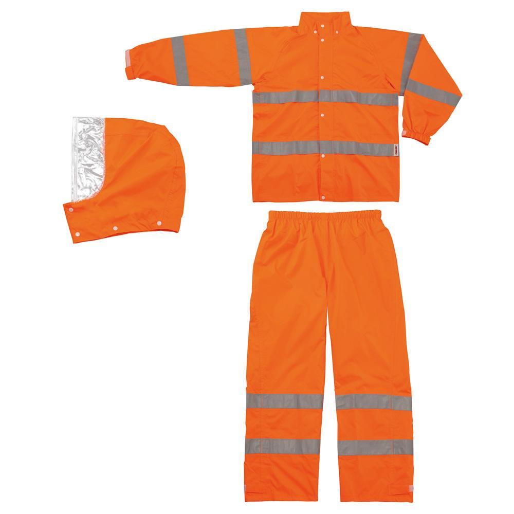【代引き・同梱不可】スミクラ レインウェア 高視認型レインスーツ A-611 蛍光オレンジ L