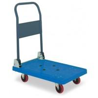 【代引き・同梱不可】アイケーキャリー 樹脂製台車 スチール製無音キャスター付 P101NS (折り畳み式ハンドル) ブルー