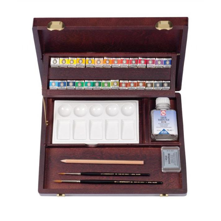 【代引き・同梱不可】REMBRANDT レンブラント固形水彩絵具 ラグジュアリーボックス28色セット T0584-0003   410880パレット アート 筆