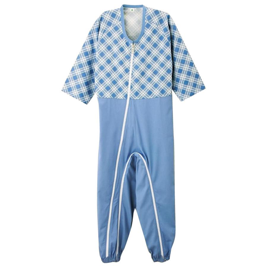 【代引き・同梱不可】男女兼用介護用フルオープンつなぎパジャマ 38728