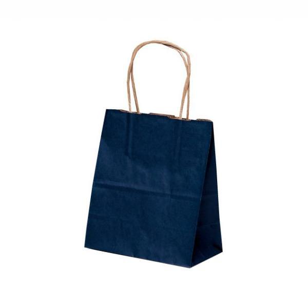 【代引き・同梱不可】T-1 自動紐手提袋 紙袋 紙丸紐タイプ 180×100×210mm 200枚 カラー(紺) 1116