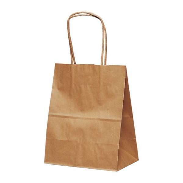 【代引き・同梱不可】T-2 自動紐手提袋 紙袋 紙丸紐タイプ 200×120×250mm 200枚 茶無地 1218