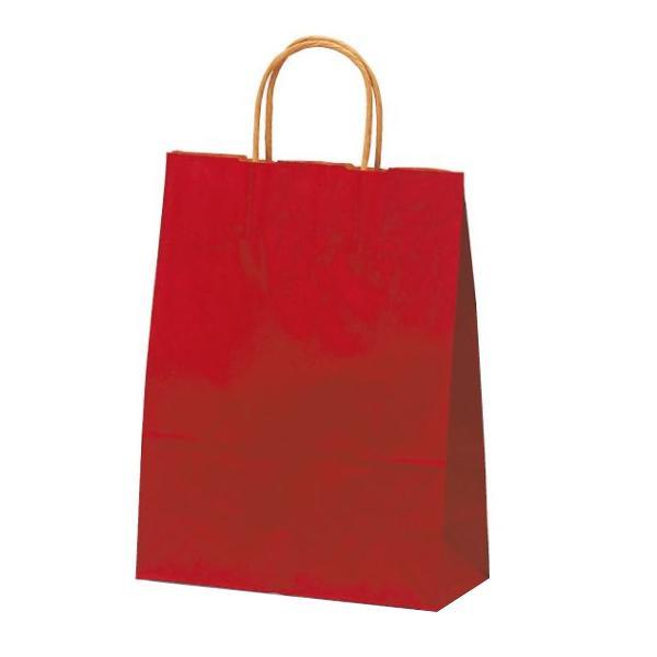 【代引き・同梱不可】T-X 自動紐手提袋 紙袋 紙丸紐タイプ 260×110×330mm 200枚 カラー(赤) 1580