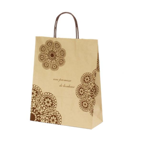 【代引き・同梱不可】T-X 自動紐手提袋 紙袋 紙丸紐タイプ 260×110×330mm 200枚 レースィ(茶) 1575