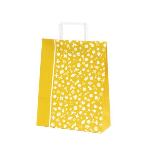 【代引き・同梱不可】T-X 自動紐手提袋 紙袋 平紐タイプ 260×110×330mm 200枚 花小町(からし) 1562