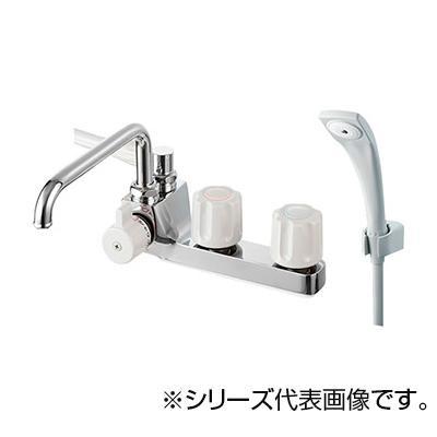 【代引き・同梱不可】SANEI ツーバルブデッキシャワー混合栓(一時止水) SK71041KL-LH-13