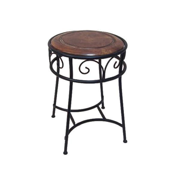【代引き・同梱不可】かわ畑 椅子 アイアン&ウッドラウンドスツール 1603DES004