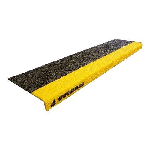 【代引き・同梱不可】SAFEGUARD 階段用滑り止めカバー 9インチ2色x914mm幅 914x225x25mm 黒/黄色木材設置用ネジ付属 12093-W