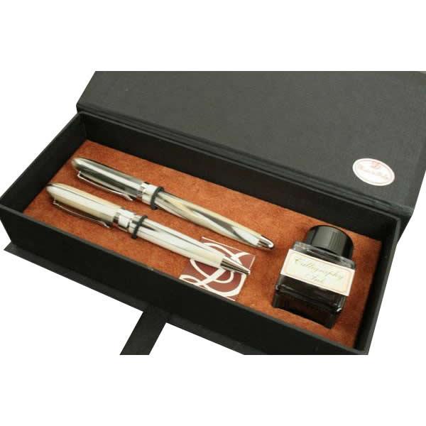 【代引き・同梱不可】AKR103 万年筆・ボールペンセット マーブル ラグジュアリーボックス
