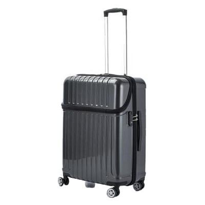 【代引き・同梱不可】協和 ACTUS(アクタス) スーツケース トップオープン トップス Mサイズ ACT-004 ブラックカーボン・74-20321黒 おしゃれ フロント