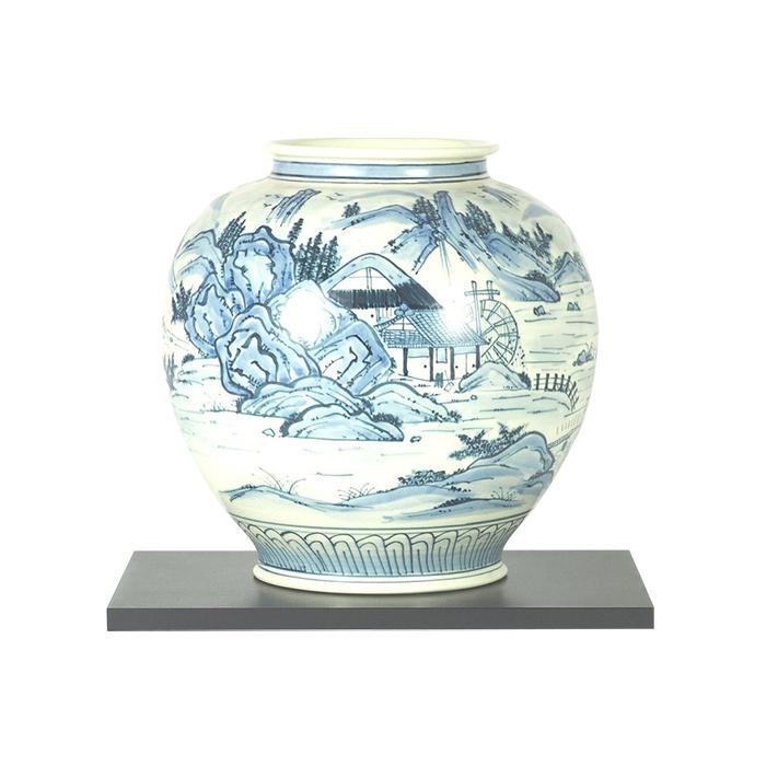 【代引き・同梱不可】九谷焼 10号花瓶 染付山水 N177-08