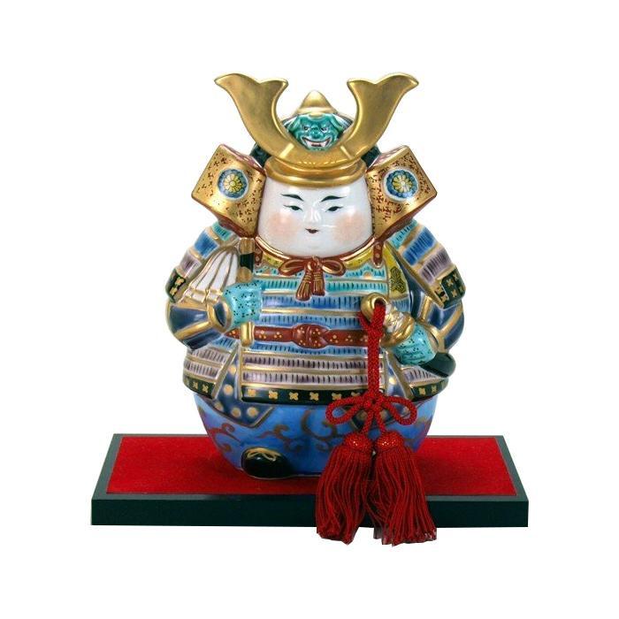 【代引き・同梱不可】九谷焼 平三 7.5号武者人形 錦付 N187-10