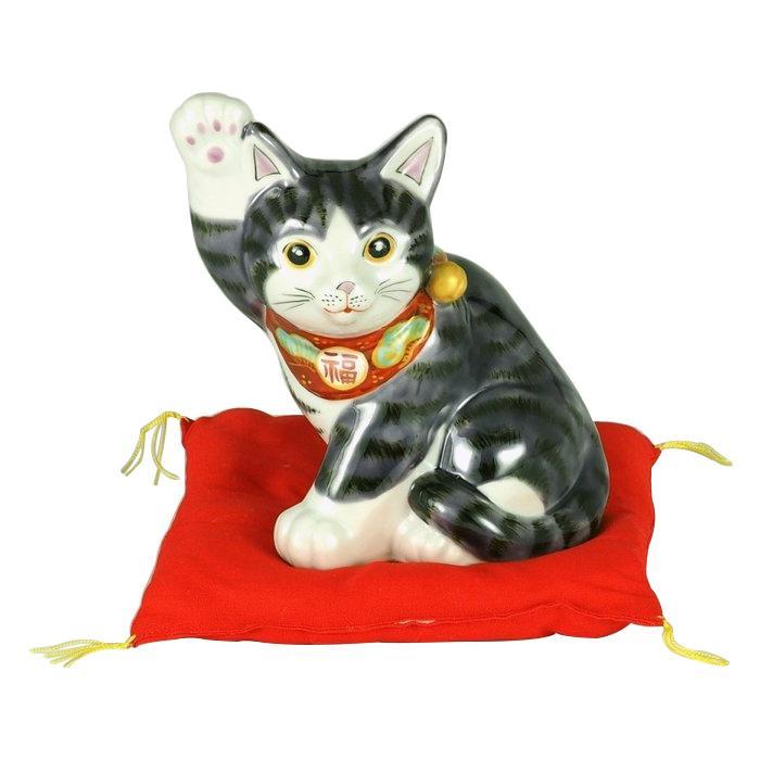 【代引き・同梱不可】九谷焼 5.5号横向き招猫 紫釉 N193-01