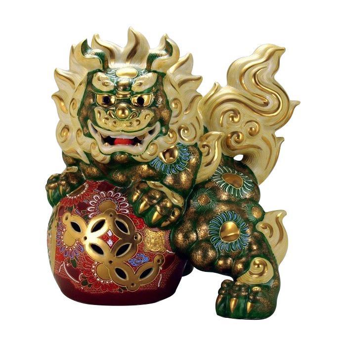 【代引き・同梱不可】九谷焼 12号立獅子 緑彩 N195-05