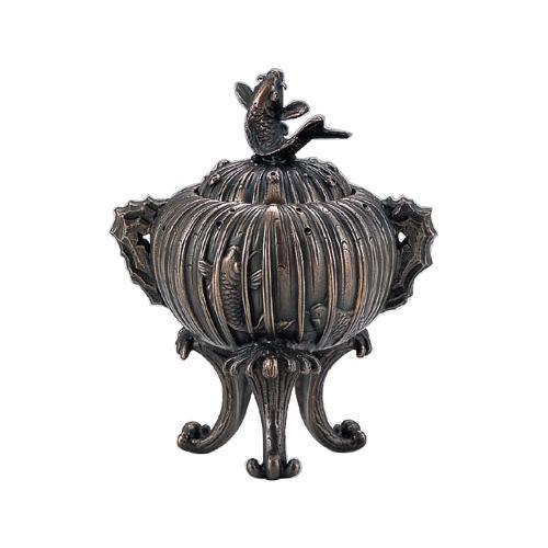 【代引き・同梱不可】高岡銅器 香炉 鯉の滝登り香炉 130-06