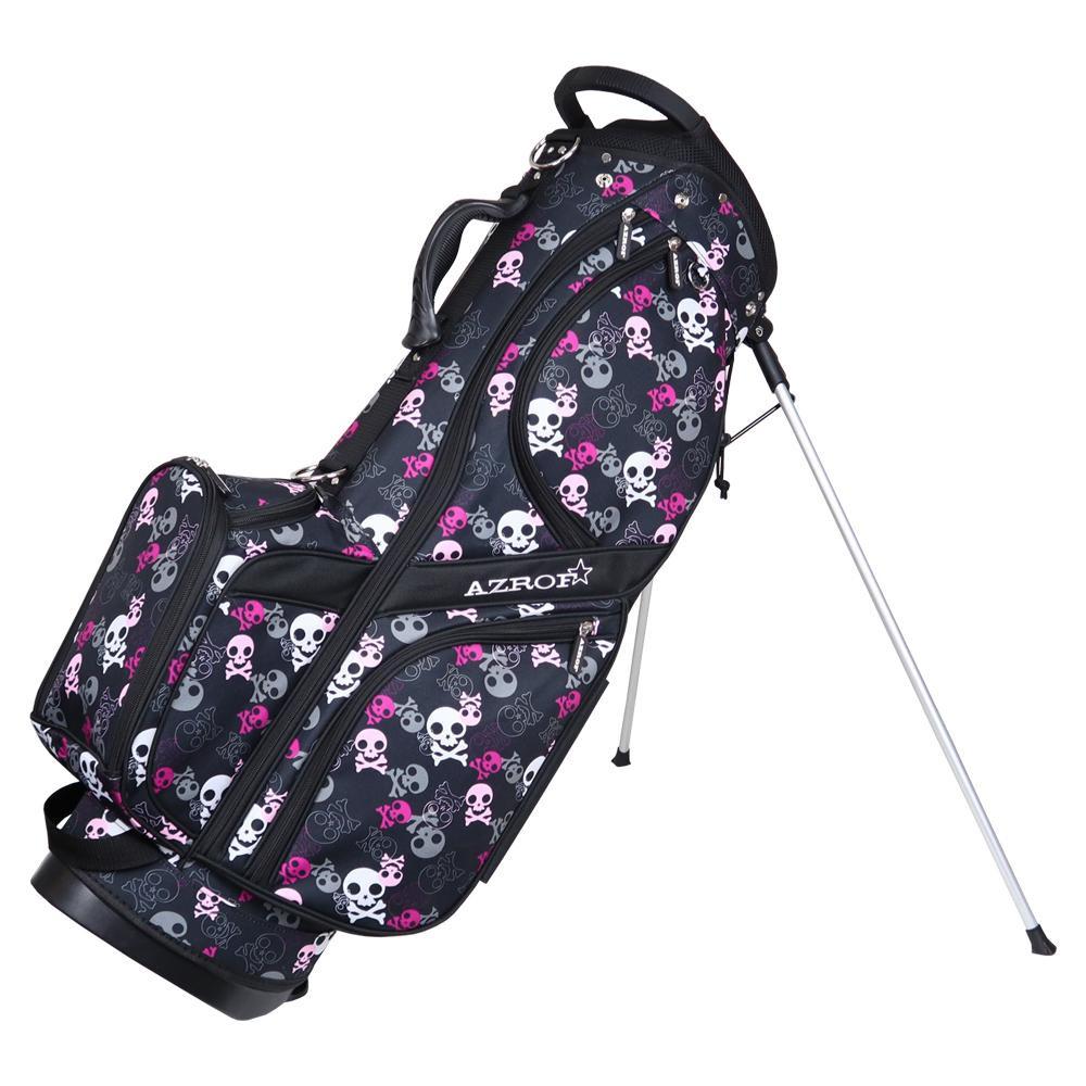 【代引き・同梱不可】AZROF(アズロフ) スタンドキャディバッグ ドクロブラック 160楽 ゴルフクラブ ゴルフバッグ