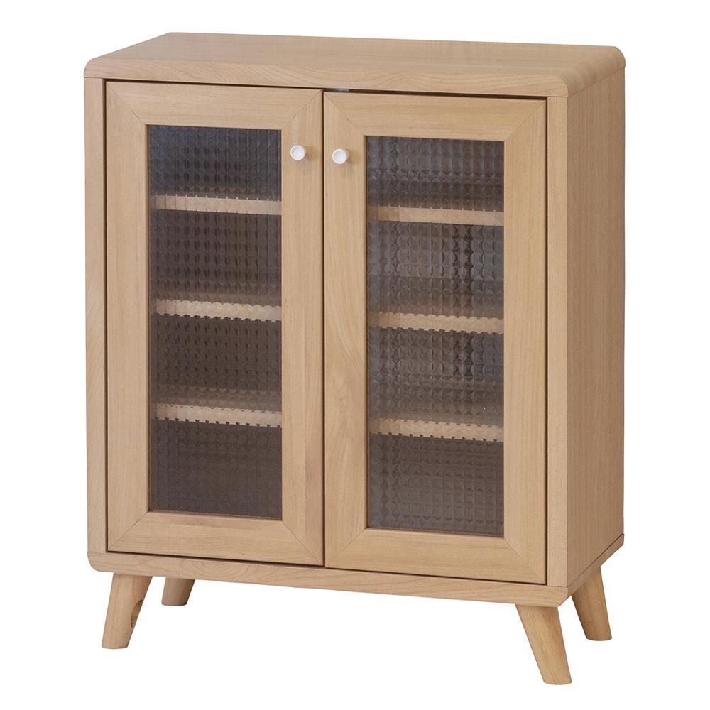 【代引き・同梱不可】チュラルナ フリーキャビネット 24091型板ガラス 家具 リビング