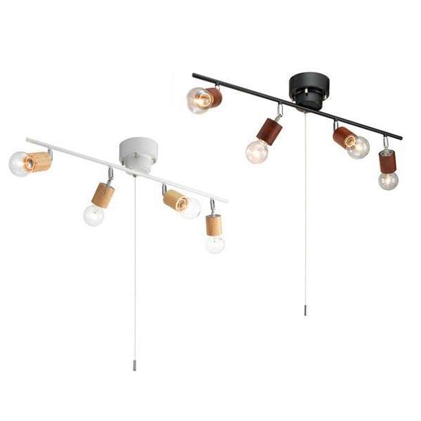 【代引き・同梱不可】YAZAWA(ヤザワコーポレーション) ウッドヌードシーリングライト 4灯 電球なし