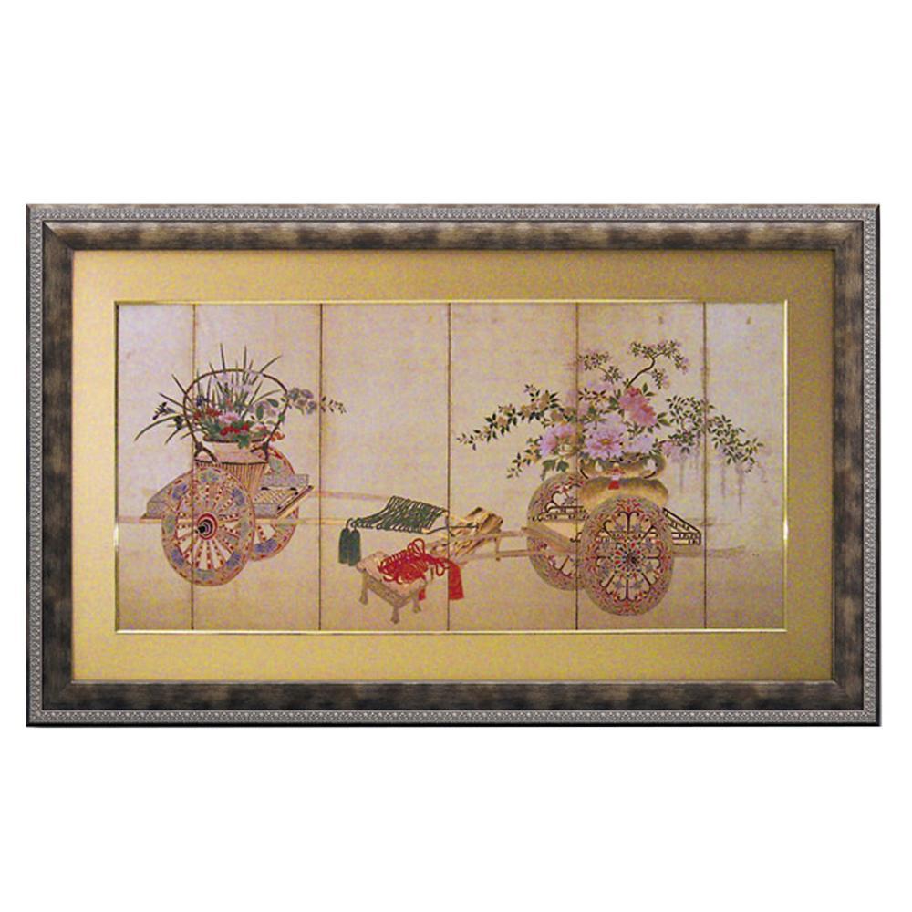 【代引き・同梱不可】ユーパワー 和風フレーム「花車」 AM-23003壁掛け 日本 芸術