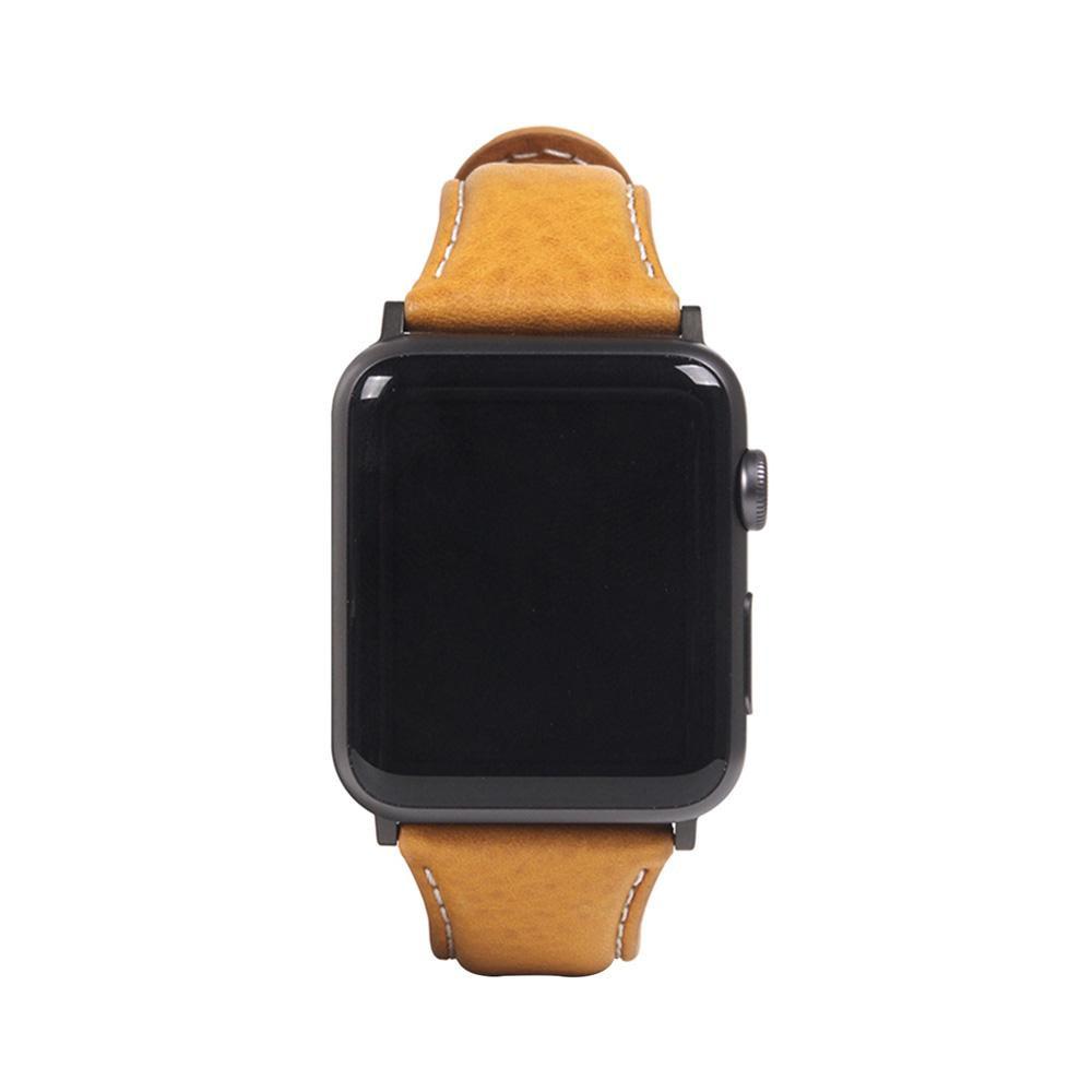 【代引き・同梱不可】SLG Design(エスエルジーデザイン) Apple Watch バンド 38mm/40mm用 Italian Minerva Box Leather タン SD18393AW