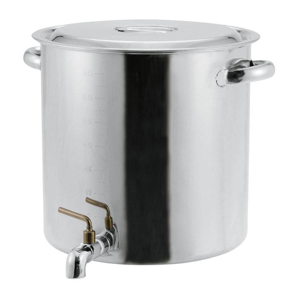 【代引き・同梱不可】EBM 18-8 蛇口付寸胴鍋 目盛付 42cm(58L) 8039300料理 調理器具 ステンレス