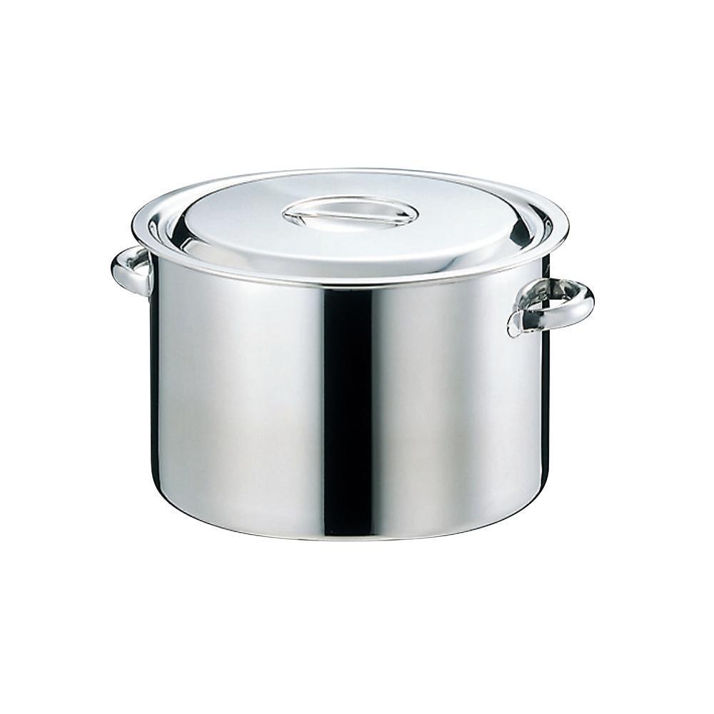 【代引き・同梱不可】EBM 18-8 半寸胴鍋(目盛付)39cm 手付 4700