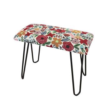 【代引き・同梱不可】かわ畑 モダンスツール ベンチ 椅子 花柄 1901BRL001