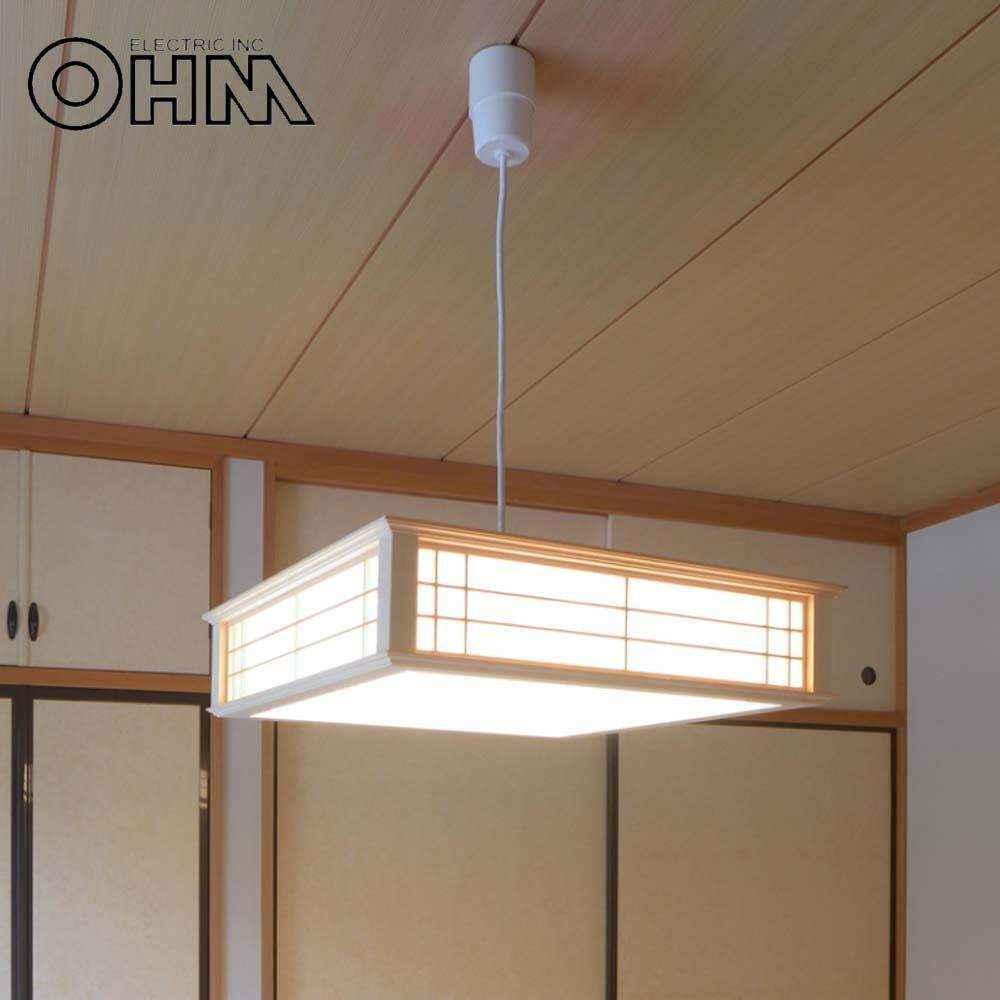 【代引き・同梱不可】OHM LED和風ペンダントライト 調光6畳用 昼光色 LT-W30D6K-K