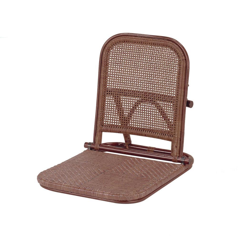 【代引き・同梱不可】今枝ラタン 籐 折りたたみ式座椅子 ダークブラウン NO-307CN