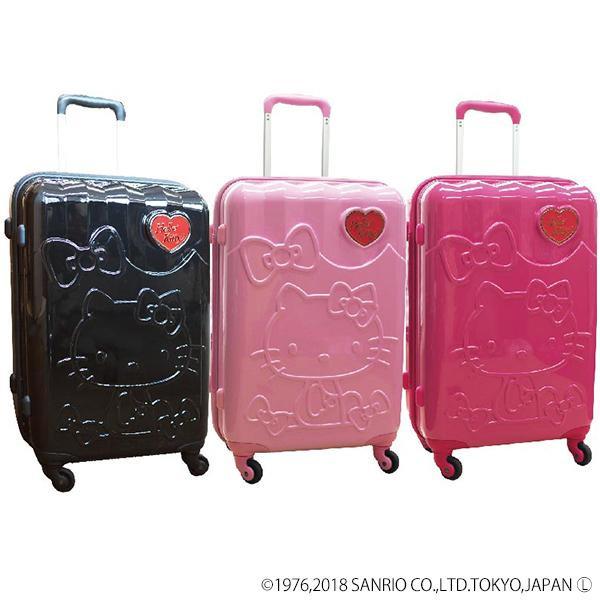 【代引き・同梱不可】サンリオ ハローキティ&リボン柄 キャリーケース 22インチ キャリーバック 可愛い 旅行鞄