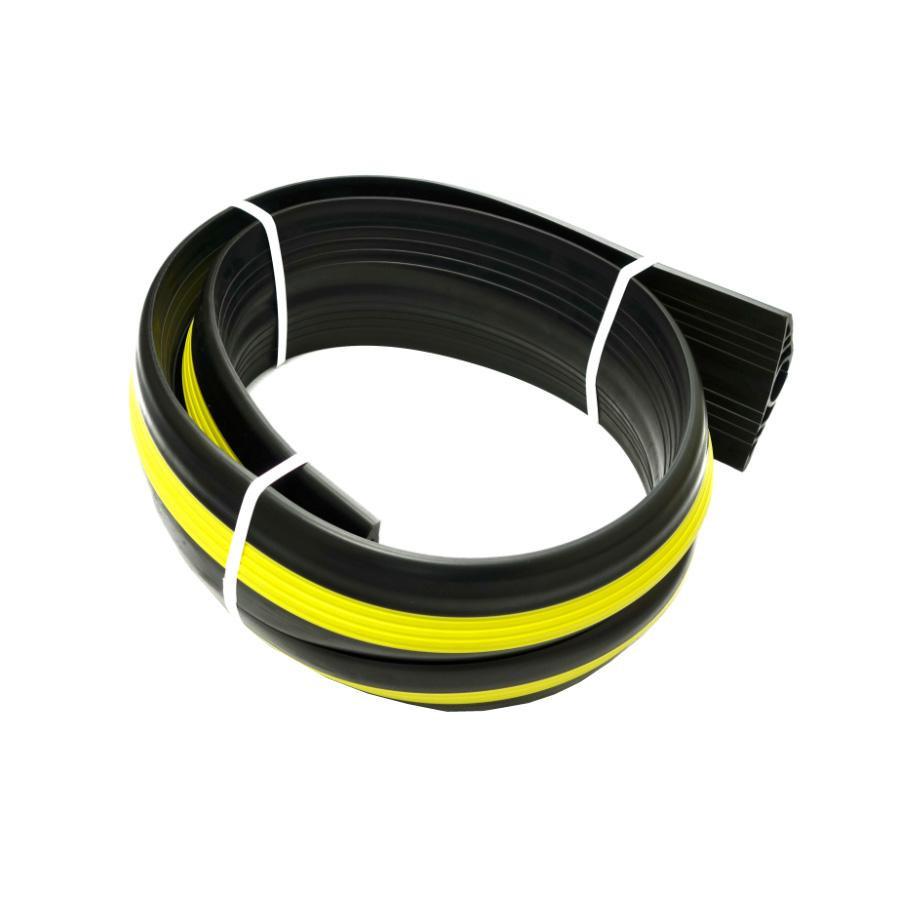 【代引き・同梱不可】大研化成工業 ケーブルプロテクター 黒(黄色ライン入り) 50Φ×3m