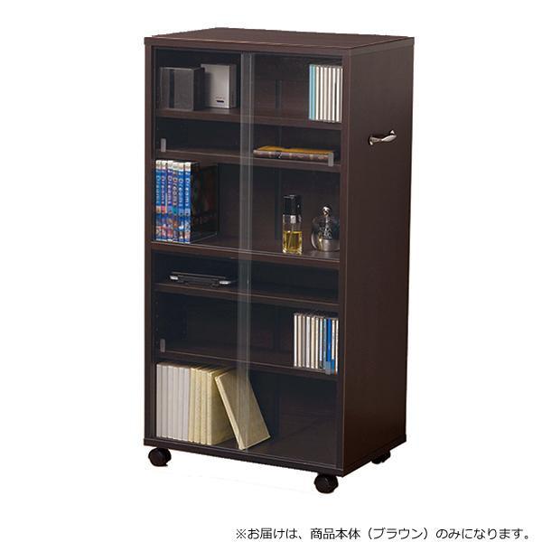 【代引き・同梱不可】CDビデオ収納 ワイド型 ブラウン 27045