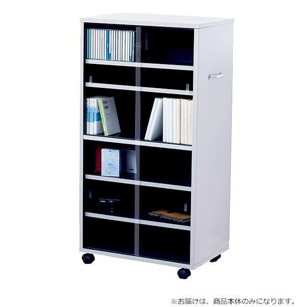 【代引き・同梱不可】CDビデオ収納 ワイド型 シルバー×ブラック 97309