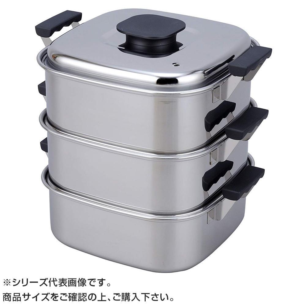 【代引き・同梱不可】PE 18-0角蒸器 3段 29cm 045037