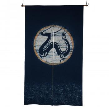 【代引き・同梱不可】綿のれん 龍 M-838 青 約巾85×丈150cm
