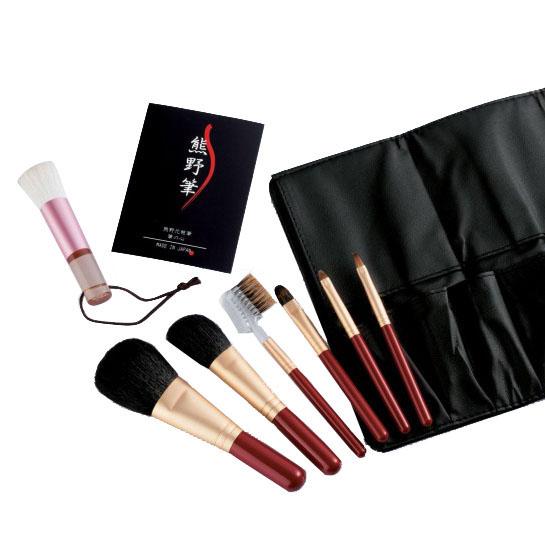 【代引き・同梱不可】熊野化粧筆セット 筆の心 洗顔ブラシ付き KFi-R207