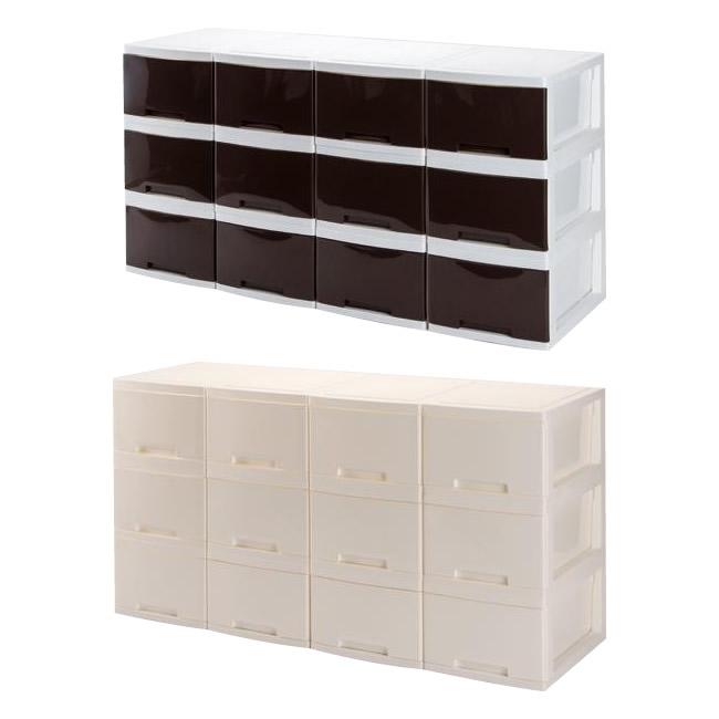 【代引き・同梱不可】収納用品 マイライフ リビング収納ボックス 同色12個セットラック スリム キャビネット