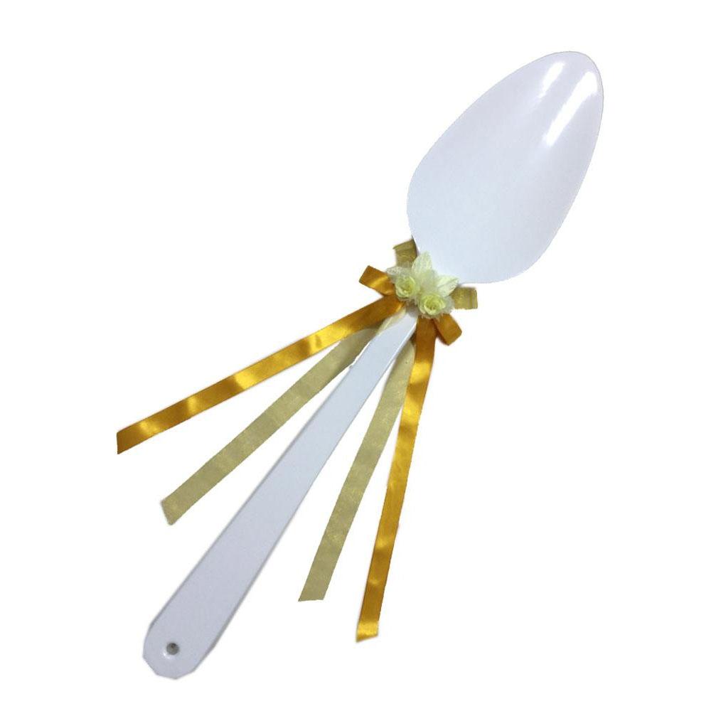 【代引き・同梱不可】ファーストバイトに! ビッグウエディングスプーン 誓いのスプーン ホワイト 90cm 黄色リボン演出 天然素材 ウエディング