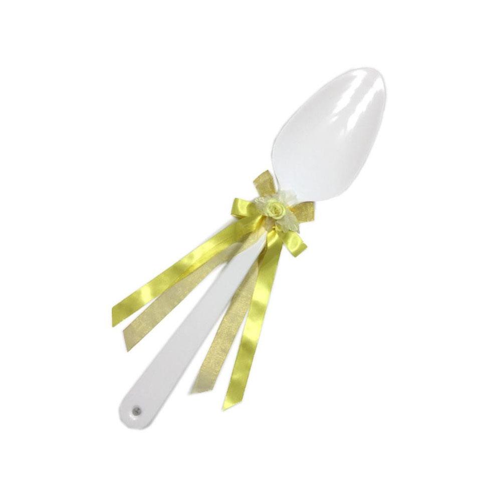 【代引き・同梱不可】ファーストバイトに! ビッグウエディングスプーン 誓いのスプーン ホワイト 60cm レモン色リボンサプライズ ブライダル 披露宴