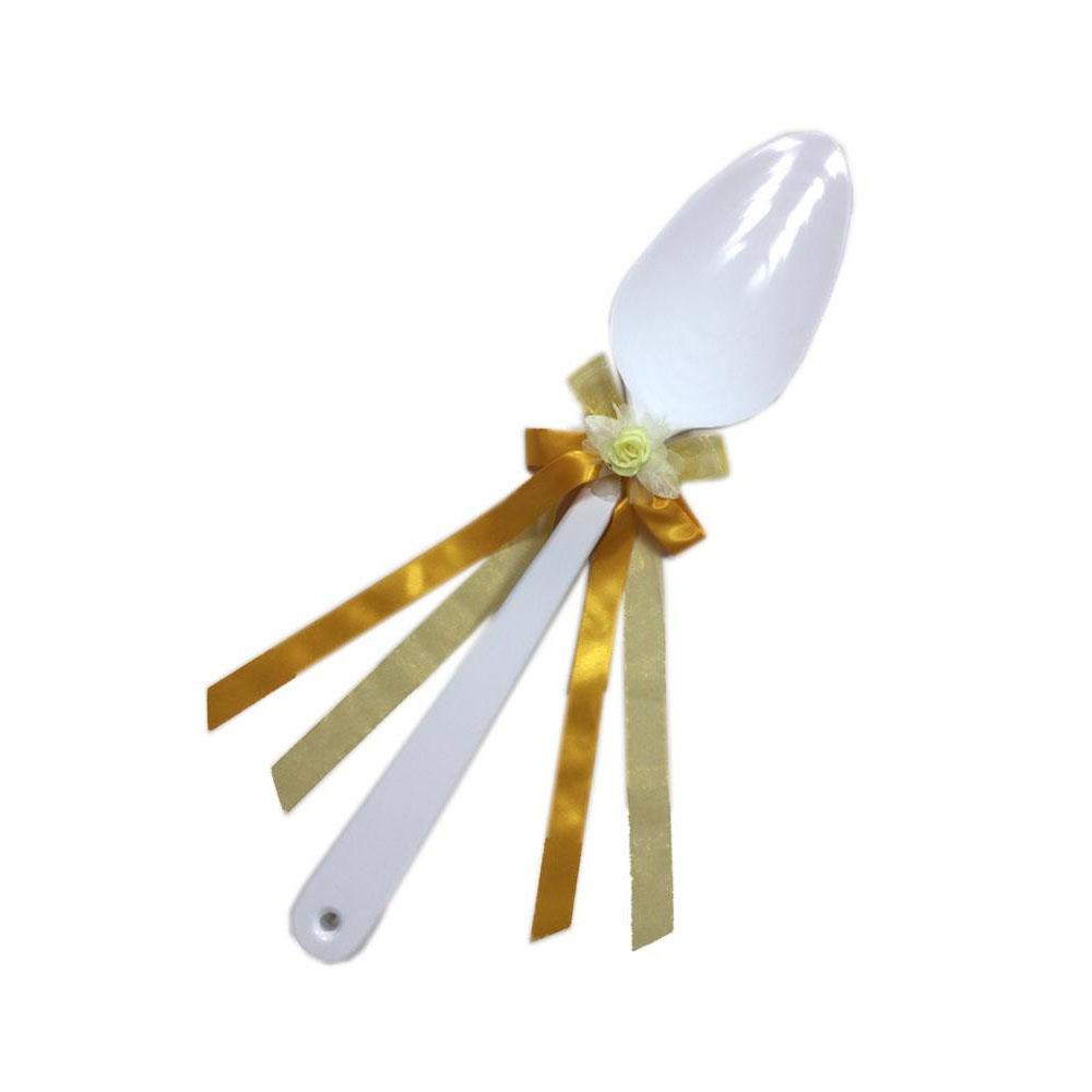 【代引き・同梱不可】ファーストバイトに! ビッグウエディングスプーン 誓いのスプーン ホワイト 60cm 黄色リボン