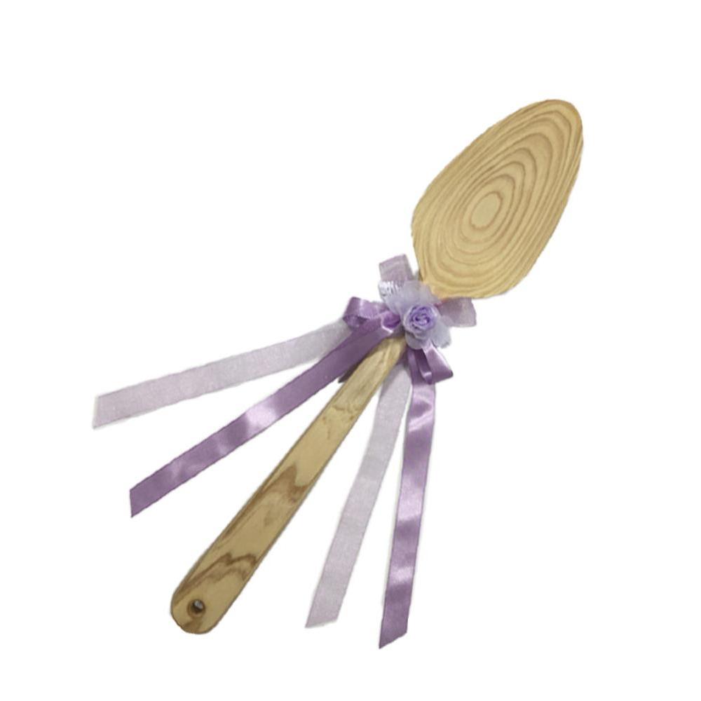 【代引き・同梱不可】ファーストバイトに! ビッグウエディングスプーン 誓いのスプーン クリア 60cm 薄紫色リボン