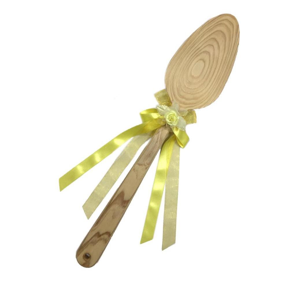 【代引き・同梱不可】ファーストバイトに! ビッグウエディングスプーン 誓いのスプーン クリア 60cm レモン色リボン