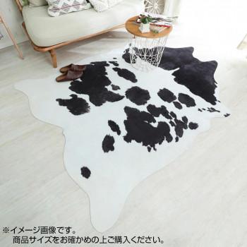 【代引き・同梱不可】牛革風プリントラグ カウ ブラック 約155×190cm 「GSCD914181」