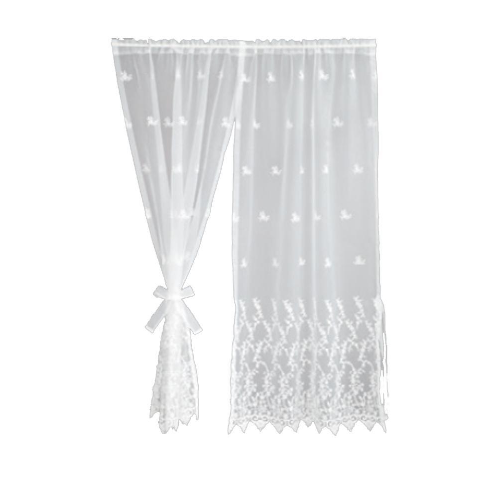 【代引き・同梱不可】川島織物セルコン ギュピールレース スタイルのれん 150×150cm DW1607 Wホワイトかわいい シンプル デザイン