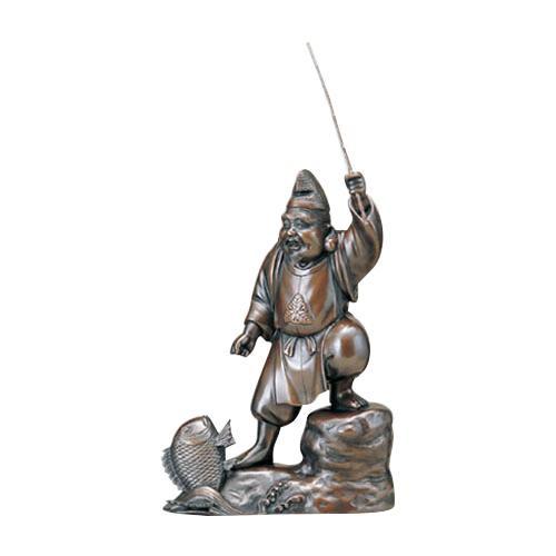 【代引き・同梱不可】高岡銅器 銅製置物 越山栄山作 上味色 恵比寿 12号 39-06