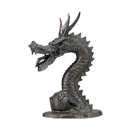 【代引き・同梱不可】高岡銅器 銅製庭置物 龍蛇口 57-01