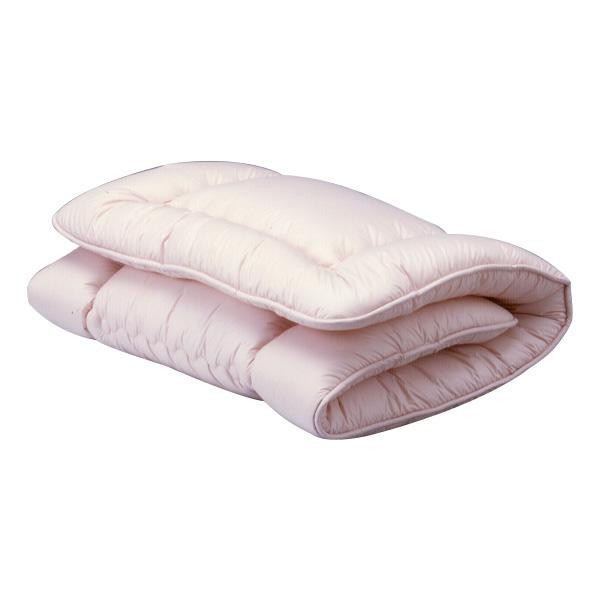 【代引き・同梱不可】高密度防ダニ生地使用 洗えるふかふか敷ふとん D ピンク敏感肌 アルファイン アレルギー