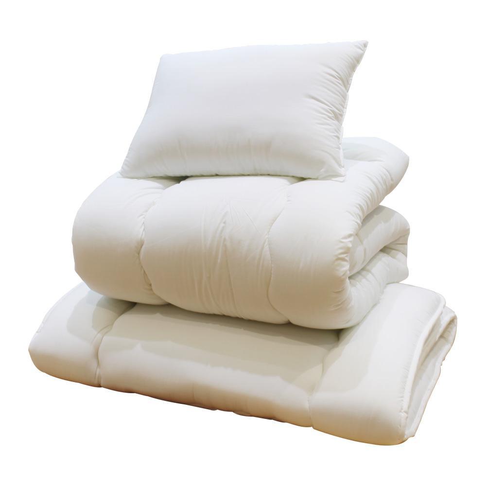 【代引き・同梱不可】合繊ふとん 3点セット(掛ふとん、敷ふとん、枕)寝具 綿100% 一人暮らし